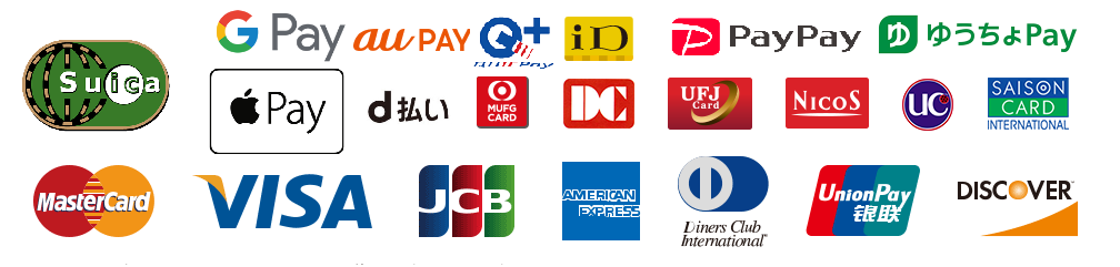 キャッシュレスでお支払いいただけます・MasterCard・VISA・JCB・AMERICAN EXPRESS・Diners Club International・Union Pay・DISCOVER
